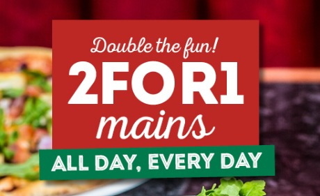 2 for 1 mains at Frankie & Benny's